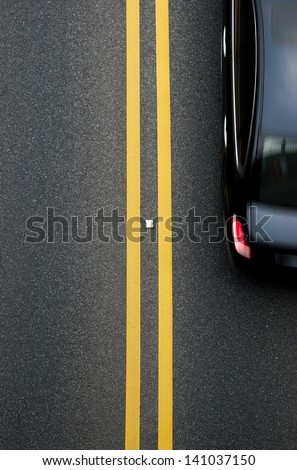 double yellow lines divider on...