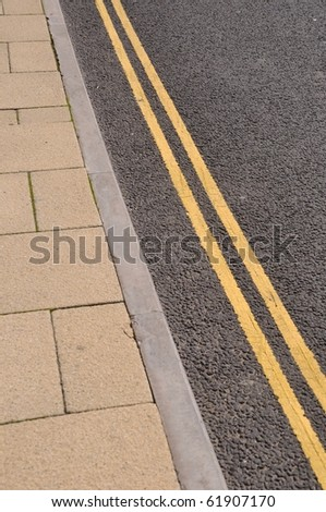double yellow lines on the asphalt road (forbidden parking)