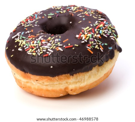 Doughnut  with chocolate cream  isolated on white  background