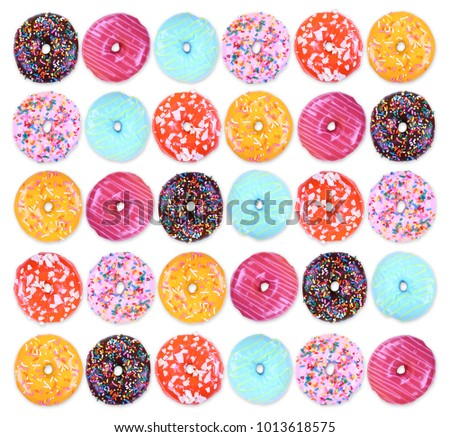 doughnuts on an isolated white background studio shot overhead with shadows