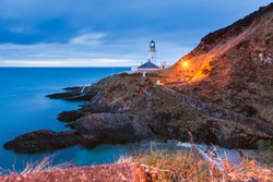 Douglas Head Lighthouse at dawn. Douglas, Isle of Man.