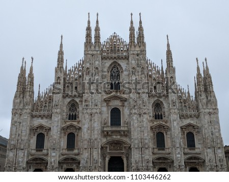 Doumo di Milano, the Cathedral Church of Milan, Lombardo Italy. Europe. Popular tourist attraction. #1103446262