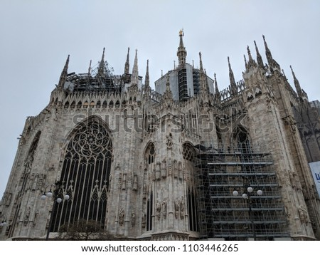 Doumo di Milano, the Cathedral Church of Milan, Lombardo Italy. Europe. Popular tourist attraction. #1103446265