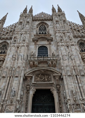 Doumo di Milano, the Cathedral Church of Milan, Lombardo Italy. Europe. Popular tourist attraction. #1103446274