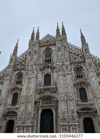 Doumo di Milano, the Cathedral Church of Milan, Lombardo Italy. Europe. Popular tourist attraction. #1103446277