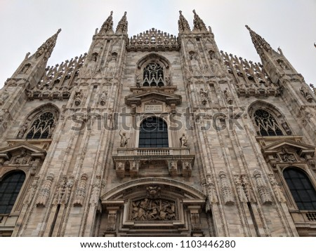 Doumo di Milano, the Cathedral Church of Milan, Lombardo Italy. Europe. Popular tourist attraction. #1103446280