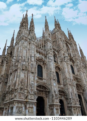 Doumo di Milano, the Cathedral Church of Milan, Lombardo Italy. Europe. Popular tourist attraction. #1103446289