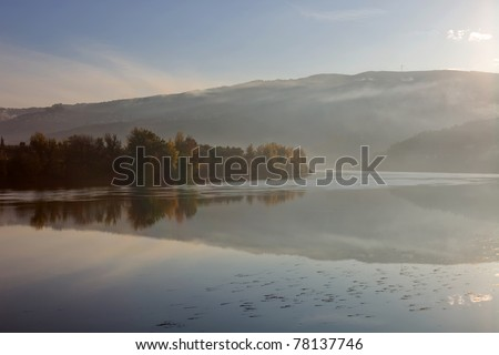 douro river in the fog, at the Regua, Portugal