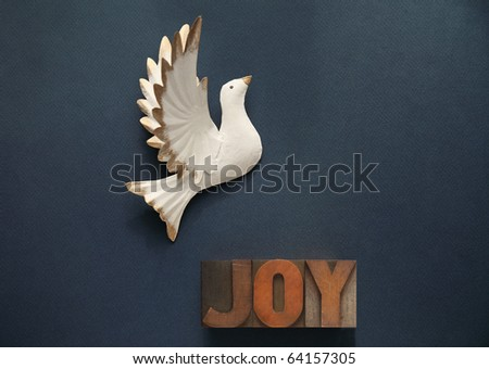 dove against a dark blue background with the word joy in old wood type
