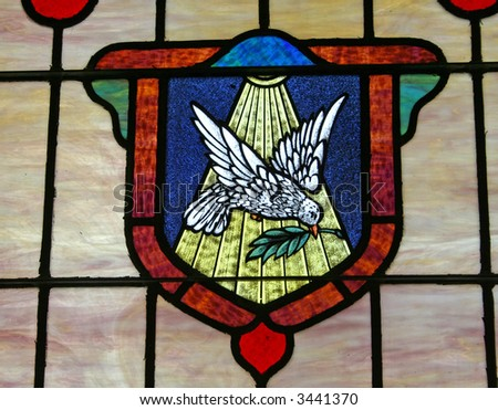 stock photo : dove stained glass window