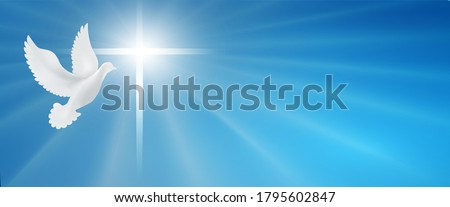 Dove with christian cross symbol. Crucifix. Easter. Sign of purity. Faith. Baptism. Holy Spirit. Evangelization. Resurrection. Banner. Blue background with bright rays