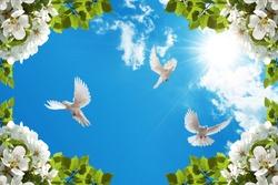 doves flying among white flowers in sunny blue sky