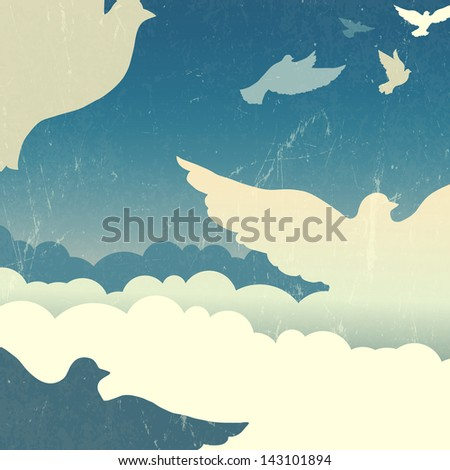 Doves in summer sky with clouds. Raster version, vector file available in portfolio.