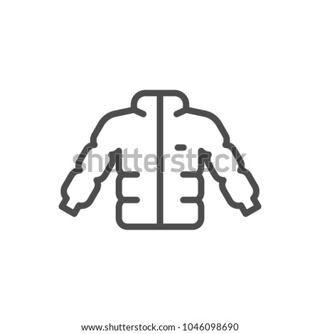 Down jacket line icon isolated on white