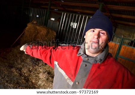 down syndrome farmer - stock photo