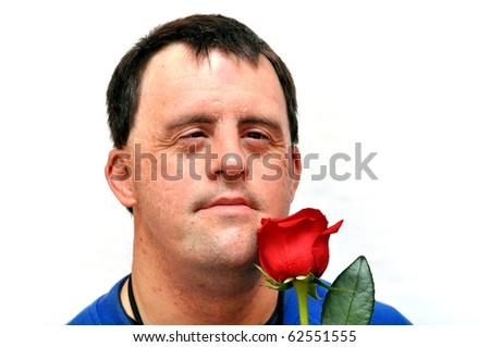 down syndrome man with red rose