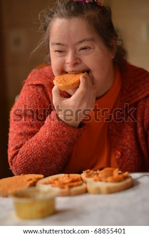 down syndrome woman eating