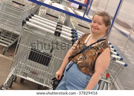 down syndrome woman walking to shopping