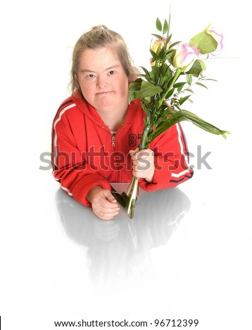Down syndrome woman with flowers
