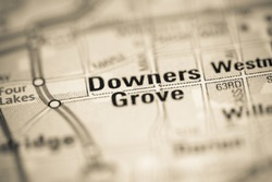 Downers Grove on a map of the United States of America