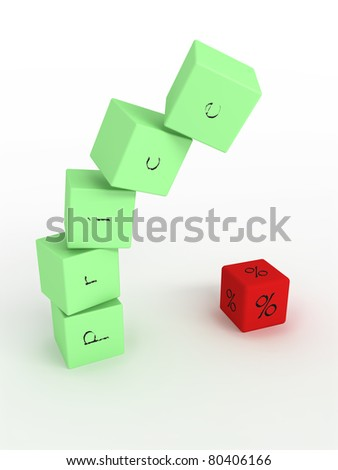 Downfall of price, green cubes with one red