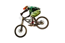 downhill racing dh rider isolated on white background