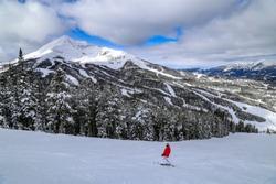 Downhill skiing in Big Sky, Montana