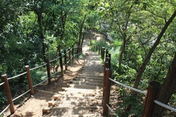 Downhill stairs on the climbing path