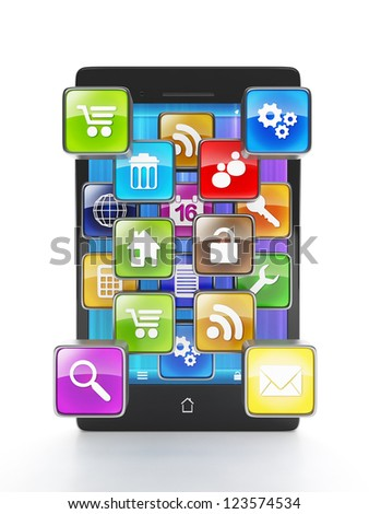 Download apps for your mobile phone. Mobile phone and a group of applications in the form of icons go outside. On a white background