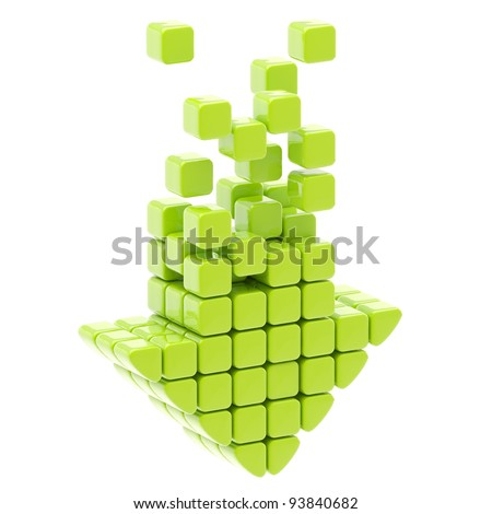 Download arrow icon made of green glossy cubes isolated on white