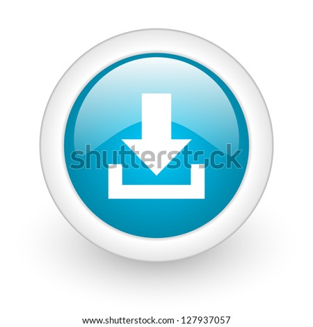 download blue circle glossy web icon on white background