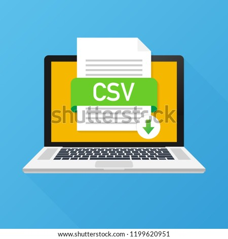 Download CSV button on laptop screen. Downloading document concept. File with CSV label and down arrow sign.  stock illustration.