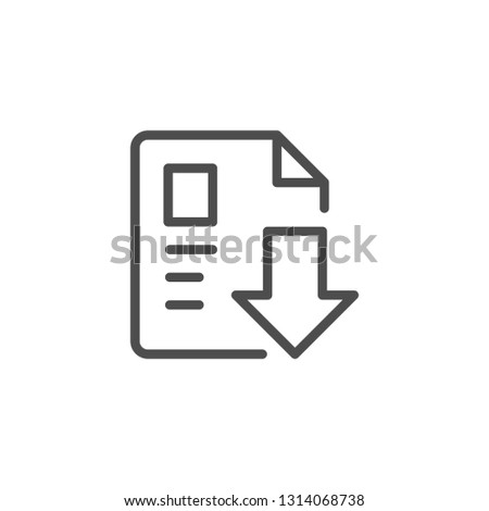 Download document line icon isolated on white
