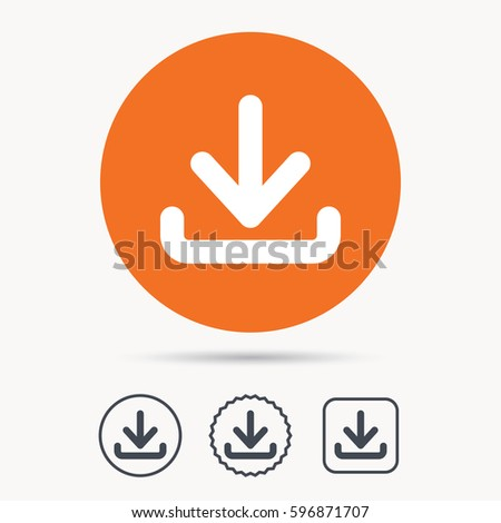 Download icon. Load internet data symbol. Orange circle button with web icon. Star and square design.