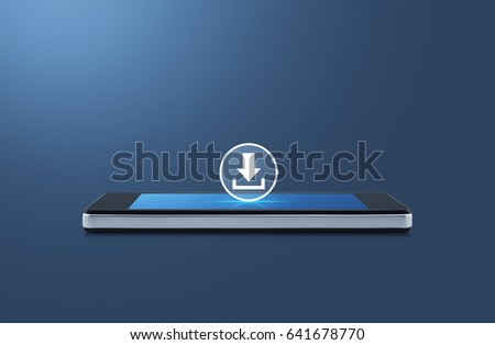 Download icon on modern smart phone screen over gradient blue background, Business internet concept #641678770