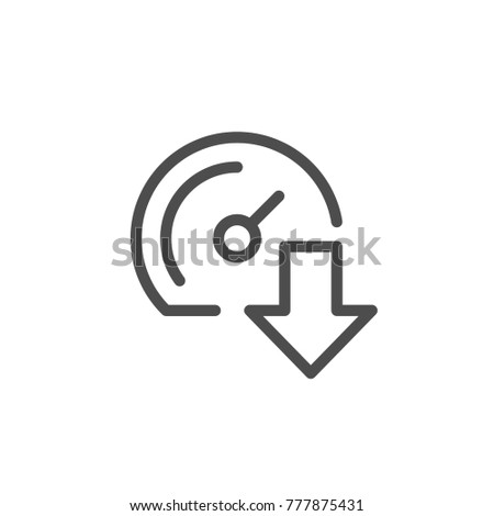Download speed line icon isolated on white