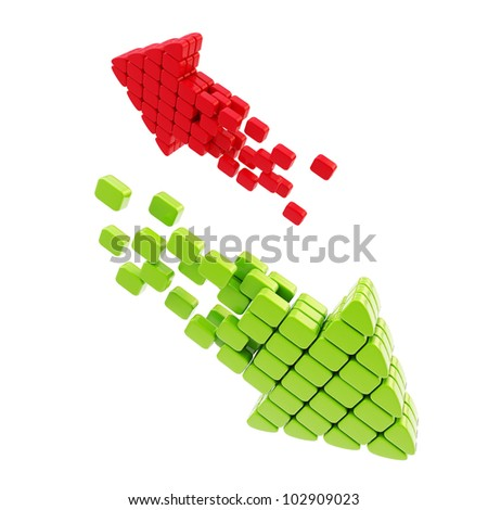 Download upload arrow icon made of glossy cubes isolated on white - stock photo