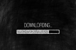 Downloading Bar in Chalk Drawing Style on Grunge Chalkboard Background.
