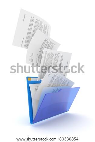 Downloading dcuments in blue folder. 3d illustration.