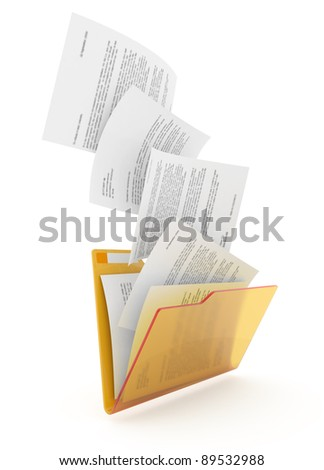 Downloading dcuments in yellow folder. 3d illustration.