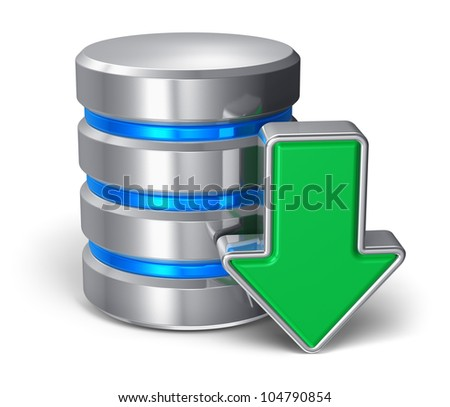 Downloading symbol: metal hard disk icon with green arrow isolated on white background