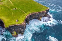 Downpatrick Head Eire sign amazing scenery aerial drone image Irish landmark Mayo Ireland