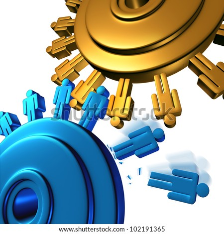 Downsizing and unemployment with job cuts and losses for better business efficiency with teamwork firings to reduce the budget of a company as two gears or cogs in the shape of people icons on white.