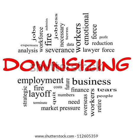Downsizing Word Cloud Concept In Red And Black Letters