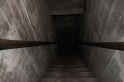 downstairs to dark, old stairs leading to the darkness , horror descend the stairs