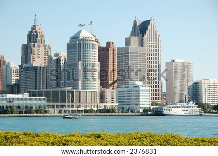 Downtown and waterfront of Detroit, Michigan seen from Canadian side