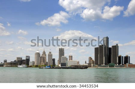 Downtown and waterfront skyline of Detroit, Michigan