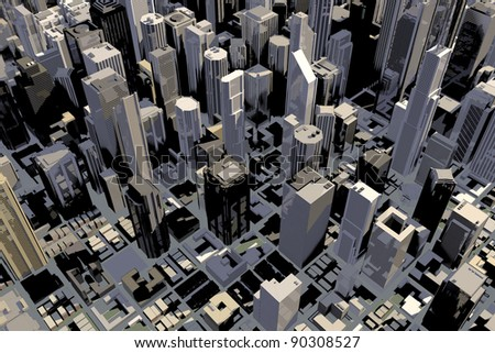 Downtown area of big city with many buildings in 3D