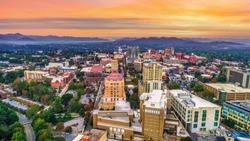 Downtown Asheville North Carolina NC Skyline Aerial