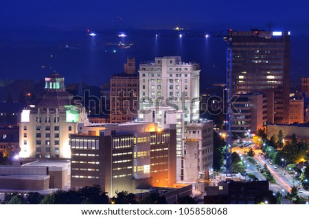 Downtown Asheville, North Carolina's city hall and courthouse building among other notable structures.